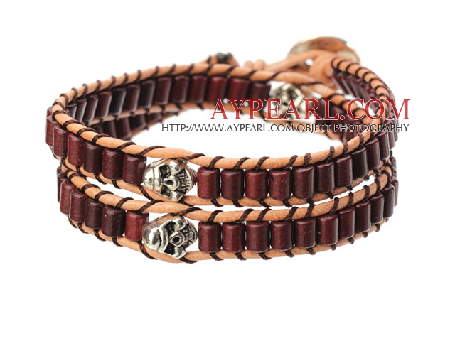Popular Style Double Strands Cylinder Shape Chocolate Color Turquoise Brown Leather Woven Wrap Bangle Bracelet With Metal Skull Head