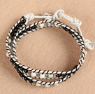 Trendy Style Popular Double Strands Round Black Agate And Howlite Beads White Leather Woven Wrap Bangle Bracelet With Metal Accessory