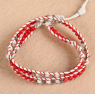 Wholesale Trendy Style Popular Double Strands Round Red Coral And Howlite Beads White Leather Woven Wrap Bangle Bracelet With Metal Accessory