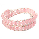 Beautiful Double Strands 6mm Round Rose Quartz Beads White Leather Woven Wrap Bangle Bracelet