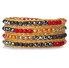 Amazing Fashion Multi Strands Red Crystal Beads Woven Wrap Bangle Bracelet With Brown Wax Thread
