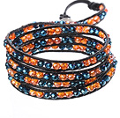 Amazing Fashion Multi Strands Orange Crystal And Deep Blue Crystal Beads Black Leather Woven Wrap Bangle Bracelet