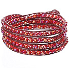 Amazing Fashion Multi Strands Red Crystal Beads Woven Wrap Bangle Bracelet With Red Wax Thread