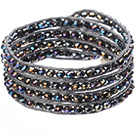 Amazing Fashion Multi Strands Black With Colorful Crystal Beads Woven Wrap Bangle Bracelet With Gray Wax Thread