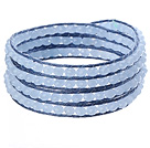 Amazing Fashion Multi Strands Light Blue Crystal Beads Woven Wrap Bangle Bracelet With Blue Wax Thread