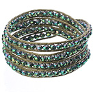 Amazing Fashion Multi Strands Green With Colorful Crystal Beads Woven Wrap Bangle Bracelet With Shell Clasp