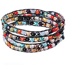 Amazing Fashion Multi Strands Multi Color Crystal Woven Wrap Bangle Bracelet With Black Wax Thread