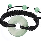 Trendy Style Big Donut Shape Aventurine Black Thread Woven Adjustable Drawstring Bracelet