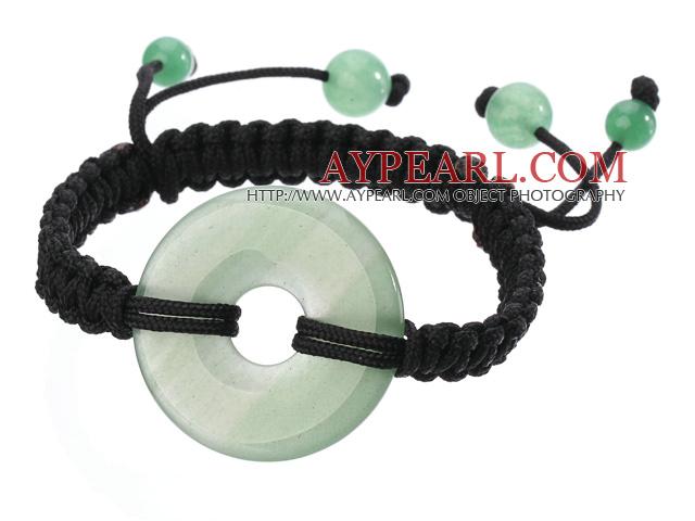 Trendy Style Big Donut Shape Aventurine Black Thread Woven Adjustable Drawstring Bracelet