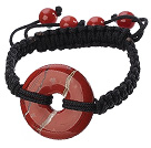 Trendy Style Big Donut Shape Red Jasper Black Thread Woven Adjustable Drawstring Bracelet