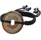 Trendy Style Big Donut Shape Green Piebald Stone Black Thread Woven Adjustable Drawstring Bracelet