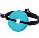 Trendy Style Big Donut Shape Blue Turquoise Black Thread Woven Adjustable Drawstring Bracelet