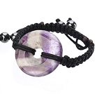 Trendy Style Big Donut Shape Multi Color Amethyst Black Thread Woven Adjustable Drawstring Bracelet