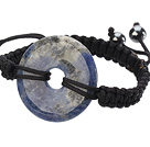 Trendy Style Big Donut Shape Sodalite Black Thread Woven Adjustable Drawstring Bracelet