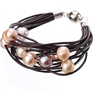 Simple Fashion Style Multi Strands 10-11mm Natural Pink Freshwater Pearl Chocolate Color Leather Bracelet With Magnetic Clasp