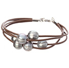 Simple Fashion Style Multi Strands 10-11mm Natural Gray Freshwater Pearl Brown Leather Bracelet With Lobster Clasp