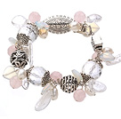 Wholesale Vintage Style Clear Crystal Rose Quartz Opal Pearl And Tibet Silver Accessory Bracelet With Toggle Clasp