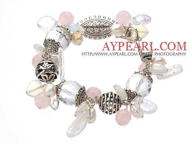 Vintage Style Clear Crystal Rose Quartz Opal Pearl And Tibet Silver Accessory Bracelet With Toggle Clasp
