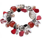 Wholesale Vintage Style Heart Shape Clear Crystal Red Agate Button Pearl Red Coral And Tibet Silver Accessory Bracelet With Toggle Clasp