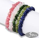 Summer Design 5 pcs A Grade Multi Color Semi-precious Stone Stretchy Bracelets