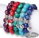 Wholesale Amazing 5 pcs Round Multi Color Imperial Jasper Beads Elastic Bracelets with Thai Silver Heart Accessory