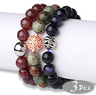 Wholesale Cool Style 3 pcs Round Strawberry Quartz Green Opal and Blue Sandstone Beaded Stretch Bracelet with Charm