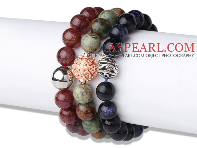 Cool Style 3 pcs Round Tiger Eye Green Opal and Blue Sandstone Beaded Stretchy Bracelet with Charm