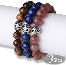 Wholesale Cool Style 3 pcs Round Tiger Eye Lapis and Strawberry Quartz Beaded Stretchy Bracelet with Heart Charm
