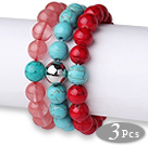 Wholesale Lovely 3 pcs Round Cherry Quartz Turquoise and Red Bloodstone Beaded Elastic Bracelet with Heart Charm