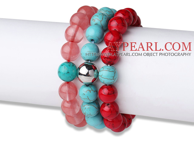 Lovely 3 pcs Round Cherry Quartz Turquoise and Red Bloodstone Beaded Elastic Bracelet with Heart Charm