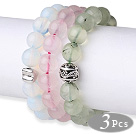 Wholesale 3 pcs Lovely Round Opal Rose Quartz and Prehnite Beaded Stretchy Bracelet with Accessory