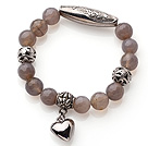 10mm Single Strand Faceted Grey Agate Beads Bracelet with Thai Silver Accessory