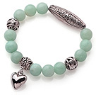 10mm Round Green Amazon Stone Beaded Elastic Bracelet with Thai Silver Accessory