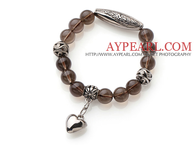 10mm Natural Round Smoky Quartz Beaded Elastic Bracelet with Thai Silver Accessory