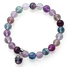 High Quality Single Strand 8mm A Grade Round Rainbow Fluorite Beaded Stretchy Bracelet with Charm
