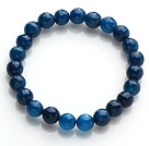 Pretty 8mm Single Strand Faceted Dark Blue Agate Beaded Stretchy Bracelet