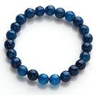 Pretty 8mm Single Strand Faceted Dark Blue Agate Beaded Stretchy Bracelet