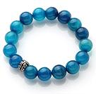 Pretty 12mm Single Strand Round Blue Agate Beaded Stretchy Bracelet