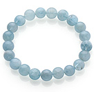 Pretty Single Strand Round Natural Aquamarine Beaded Stretchy Bracelet