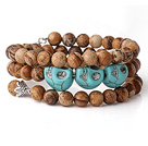 New Arrival Multi Strands Round Picture Jasper Beaded Elastic Bracelet with Turquoise Skull and Charm