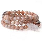 New Arrival Multi Strands Round Sunstone Beaded Elastic Bracelet with Clear Crystal and Charm