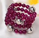 2014 Gorgeous Multi Strands Faceted Rose Red Agate Beads Stretch Bracelet