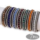 Amazing 7 pcs Single Strand Faceted Multi Color Crystal Beaded Leather Bracelets