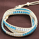 Fashion Style White And Blue Crystal Beads Wrap Bangle Bracelet