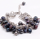 Fashion Multi Strand Natural Black Freshwater Pearl Charm Bracelet