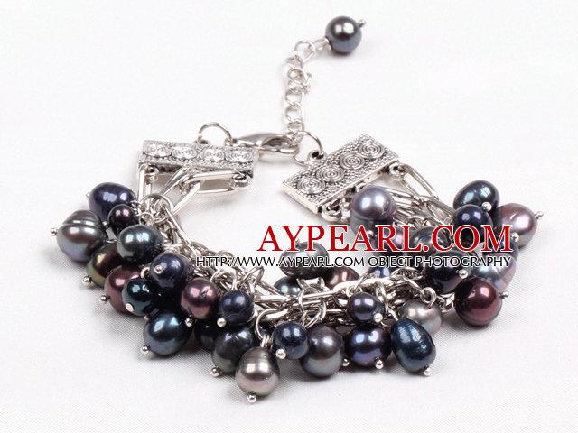 Fashion Multi Strand Natural Black Freshwater Pearl Charm Bracelet