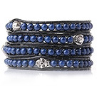 Popular Style Multi Strands Round Lapis Beaded Bracelet with Black Leather and Skull