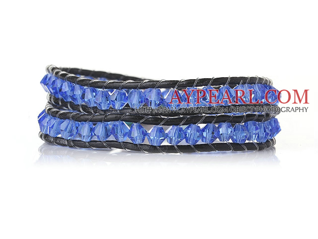 Trendy Design Two Strands Blue Manmade Crystal Beads Bracelet with Black Leather