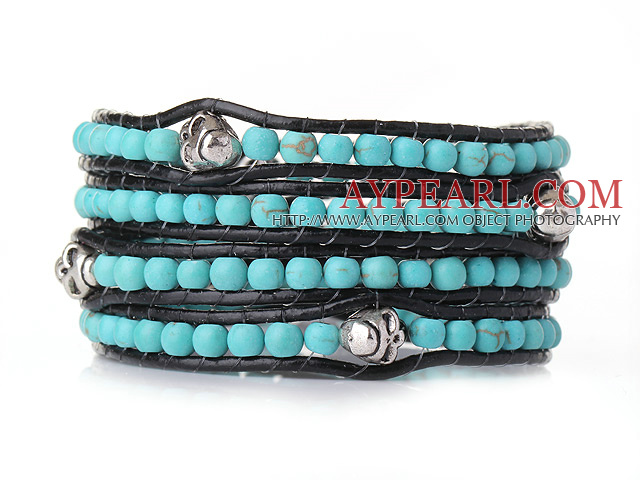 Popular Style Multi Strands Blue Turquoise Beads Bracelet with Black Leather and Skull
