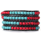 Popular Style Multi Strands Round Blue Turquoise Red Coral Beaded Bracelet with Leather